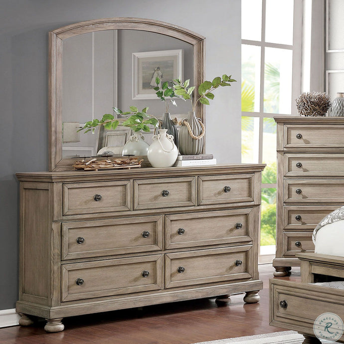 Furniture Of America Willa Gray Wood Finish 7 Drawers Dresser With Mirror