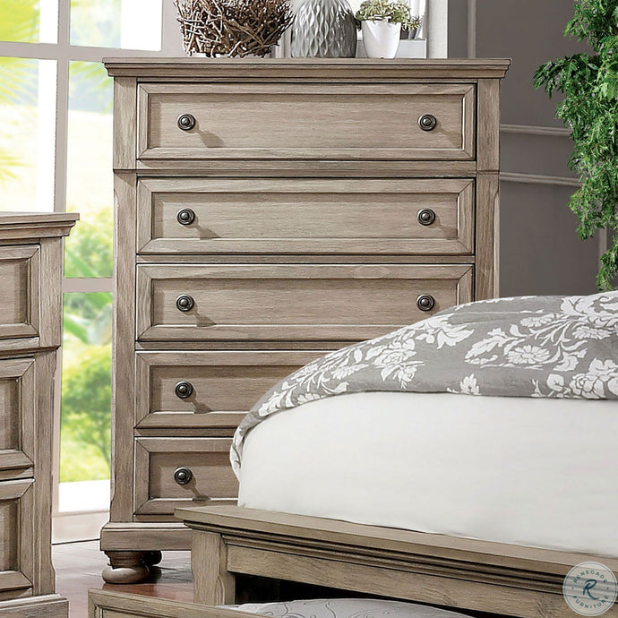 Furniture Of America Willa Gray Wood Finish 5 Drawers Chest