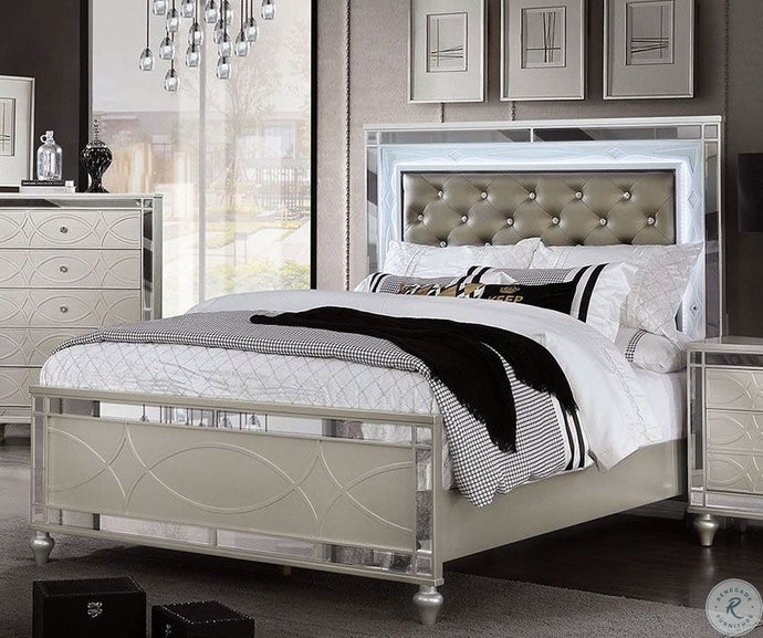 Furniture Of America Manar Silver Wood Finish Queen Bed