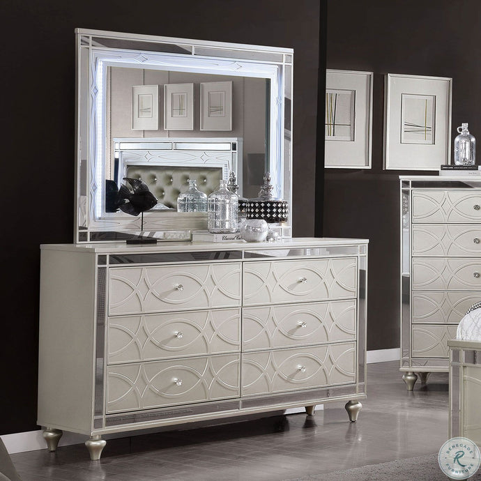Furniture Of America Manar Silver Wood Finish Dresser With Mirror