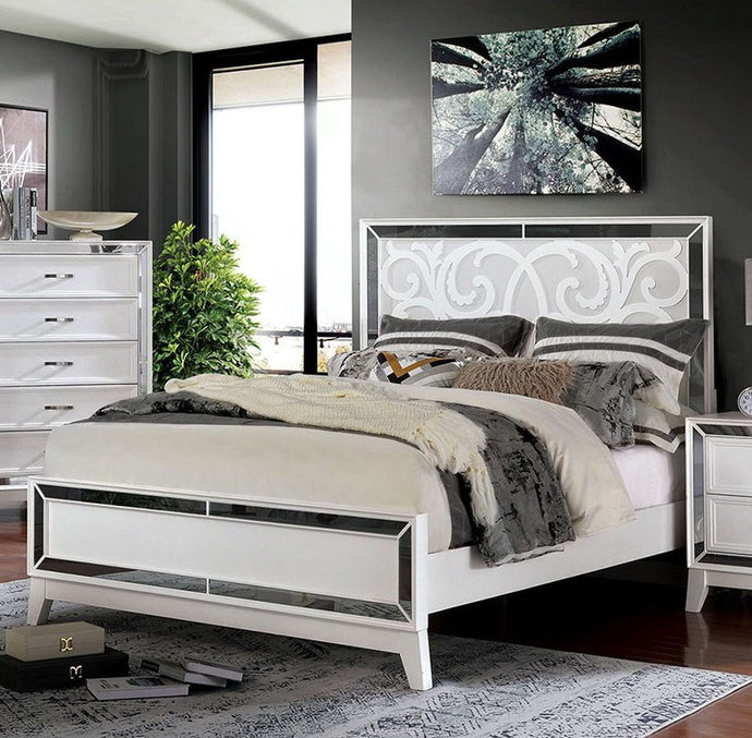 Furniture Of America Lamego White Wood Finish Eastern King Bed