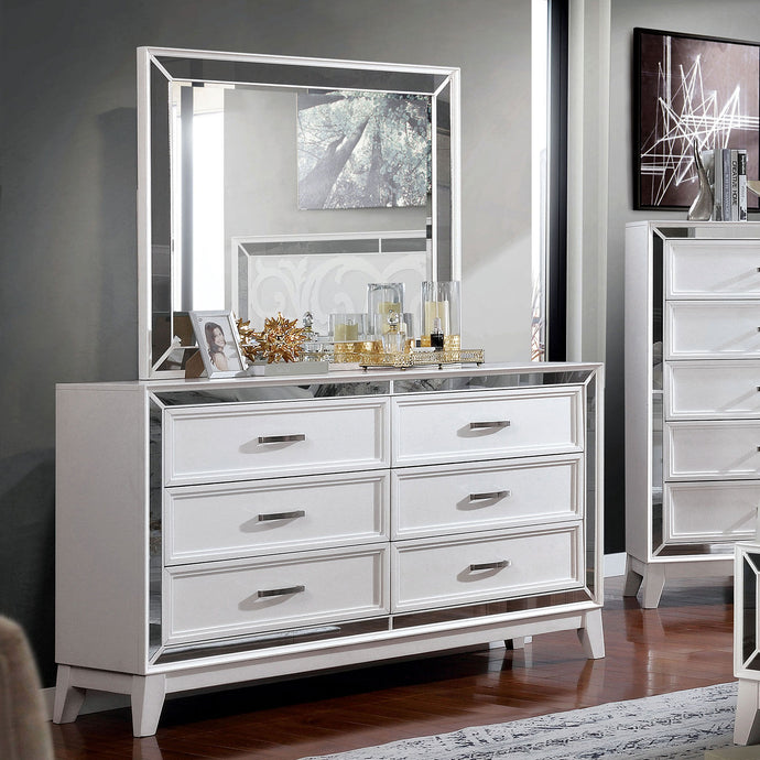 Furniture Of America Lamego White Wood Finish Dresser With Mirror