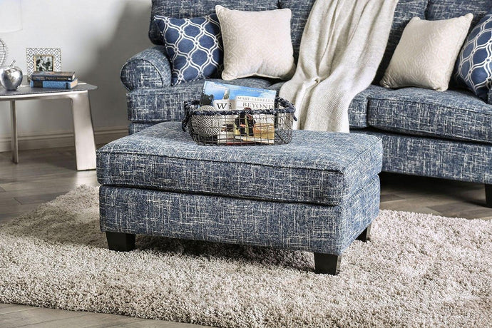 Furniture Of America Pierpont Blue Fabric Finish Ottoman
