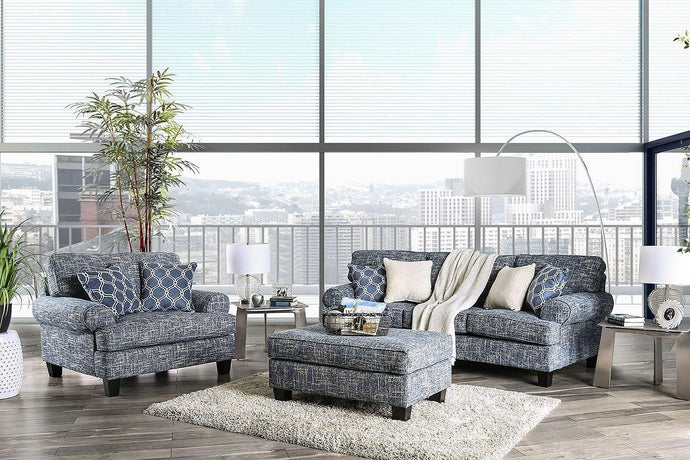 Furniture Of America Pierpont Blue Fabric Finish 3 Piece Sofa Set