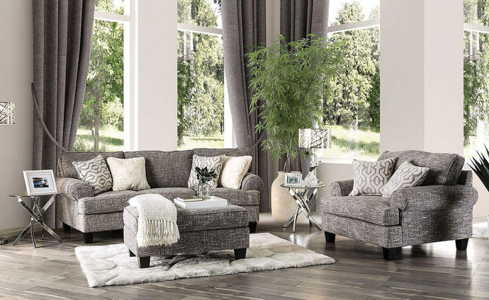 Furniture Of America Pierpont Gray Fabric Finish 3 Piece Sofa Set