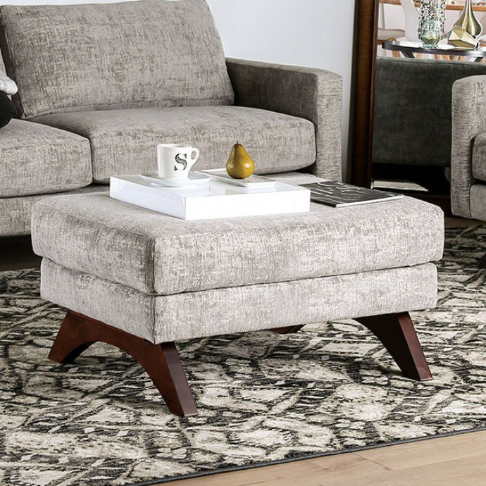 Furniture Of America Harlech Gray Chenille Finish Ottoman