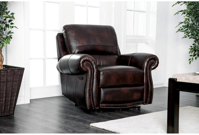 Furniture Of America Brown Grain Leather Finish Recliner Chair