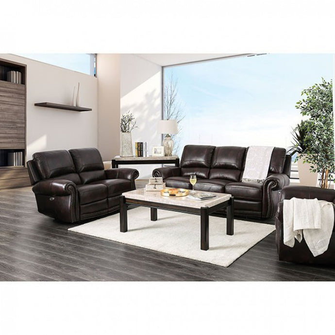 Furniture Of America Brown Grain Leather Finish 3 Piece Recliner Sofa Set