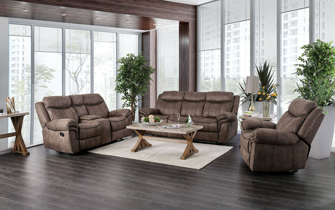 Furniture Of America Celia Brown Fabric Finish 3 Piece Recliner Sofa Set