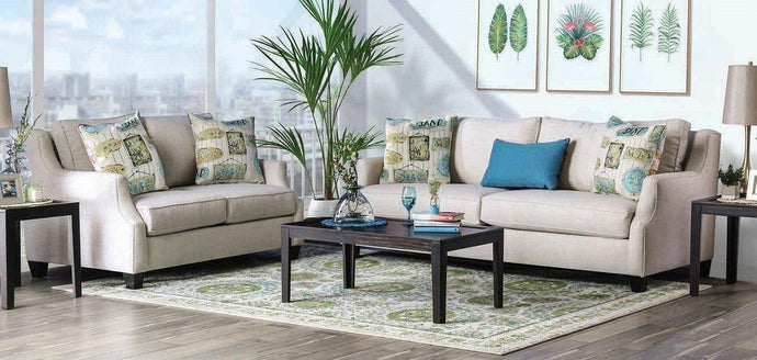 Furniture Of America Dasia Beige Linen Fabric Finish 2 Piece Sofa Set