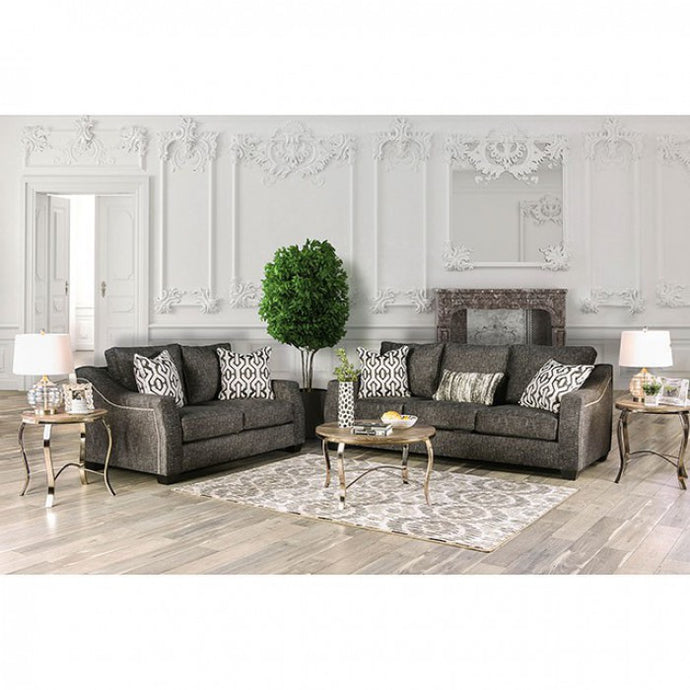 Furniture Of America Coralie Charcoal Microfiber Finish 2 Piece Sofa Set