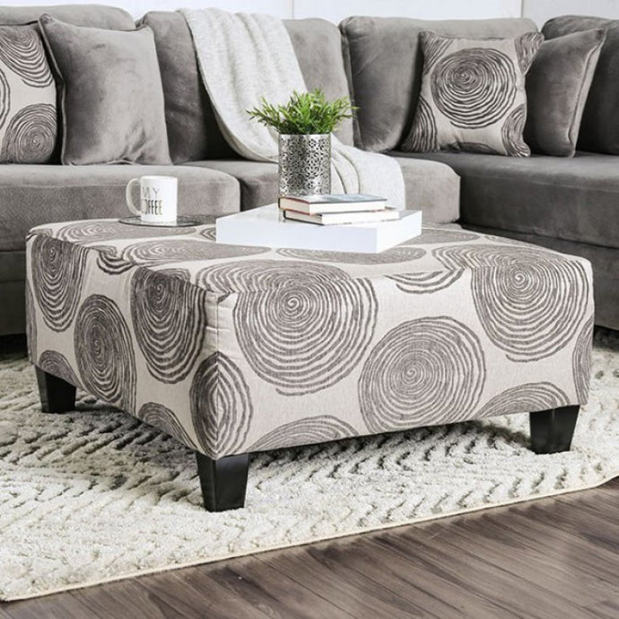 Furniture Of America Bonaventura Gray Fabric Finish Ottoman