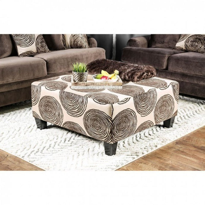 Furniture Of America Bonaventura Brown Fabric Finish Ottoman