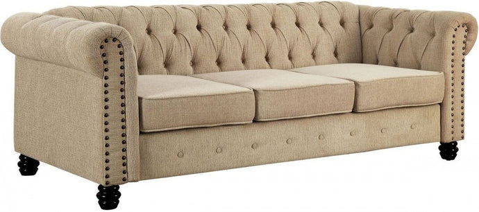 Furniture Of America Winifred Ivory Fabric Finish Sofa