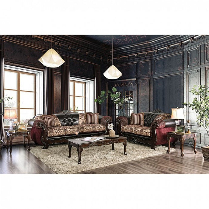 Furniture Of America Quirino Dark Brown Chenille Finish 2 Piece Sofa Set