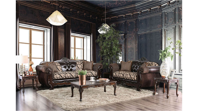 Furniture Of America Quirino Light Brown Chenille Finish 2 Piece Sofa Set