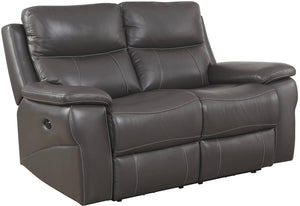 Furniture Of America Lila Gray Leather Finish Recliner Loveseat
