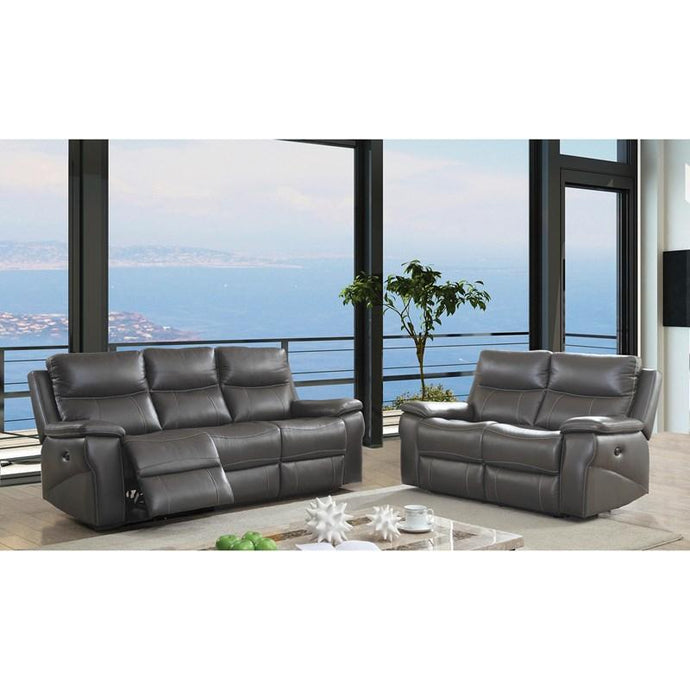 Furniture Of America Lila Gray Leather Finish 2 Piece Recliner Sofa Set