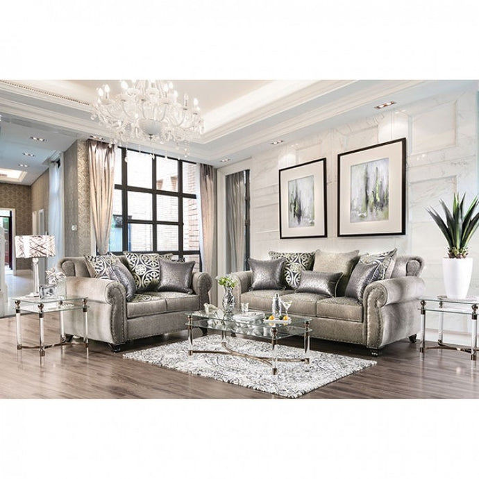 Furniture Of America Sinatra Gray Linen Finish 2 Piece Sofa Set