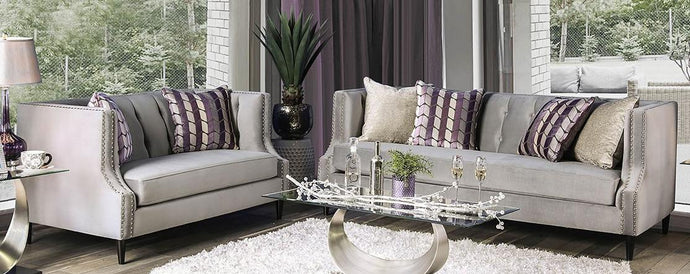 Furniture Of America Tegan Gray Linen Finish 2 Piece Sofa Set