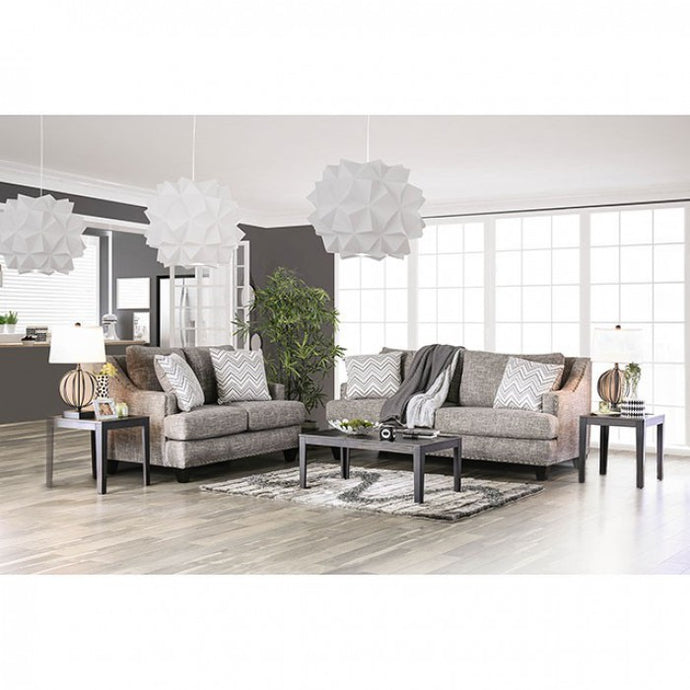 Furniture Of America Erika Gray Linen Finish 2 Piece Sofa Set