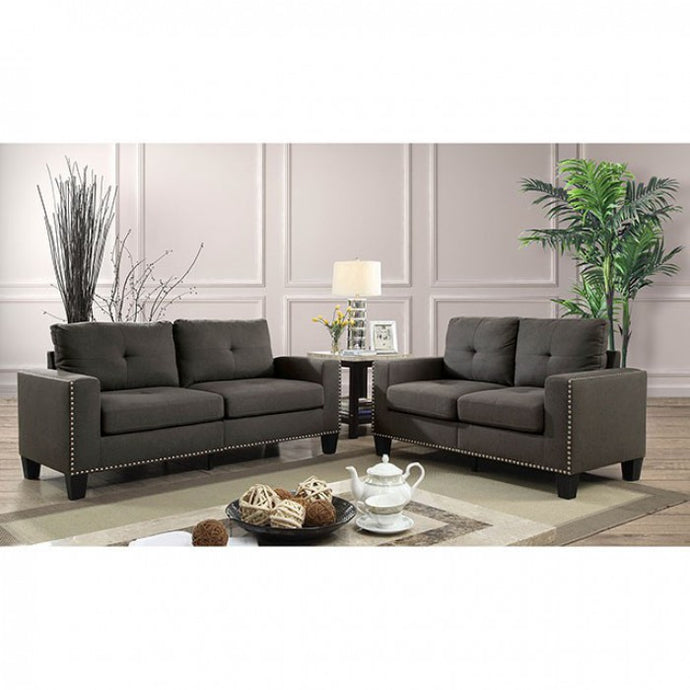 Furniture Of America Attwell Gray Linen Finish 2 Piece Sofa Set
