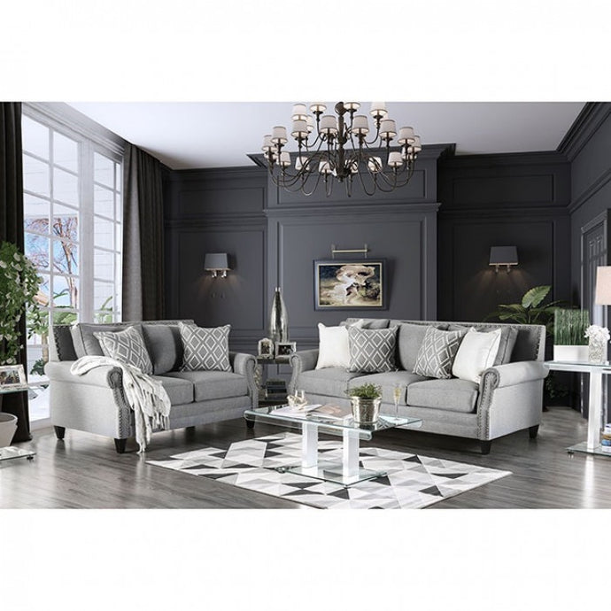 Furniture Of America Giovanni Gray Linen Finish 2 Piece Sofa Set
