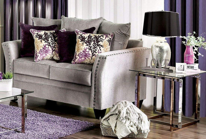 Furniture Of America Oliviera Gray Velvet Finish Loveseat