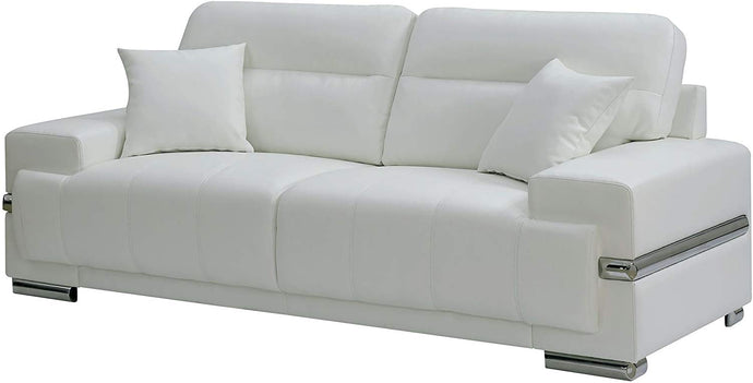 Furniture Of America Zibak White Breathable Leatherette Finish Sofa