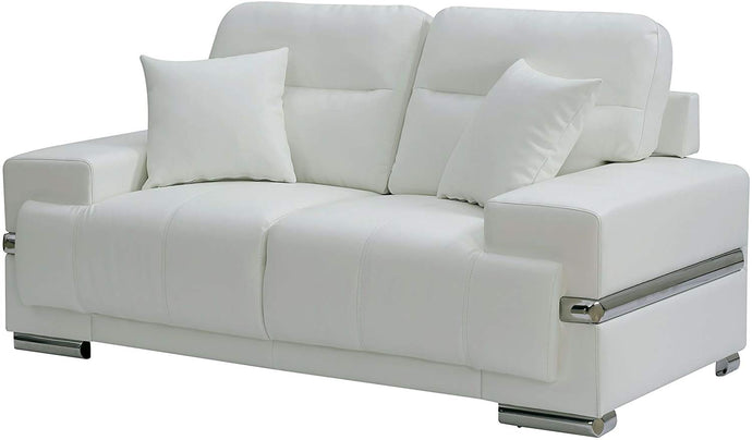 Furniture Of America Zibak White Breathable Leatherette Finish Loveseat
