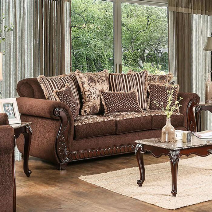 Furniture Of America Tabitha Brown Fabric Finish Sofa