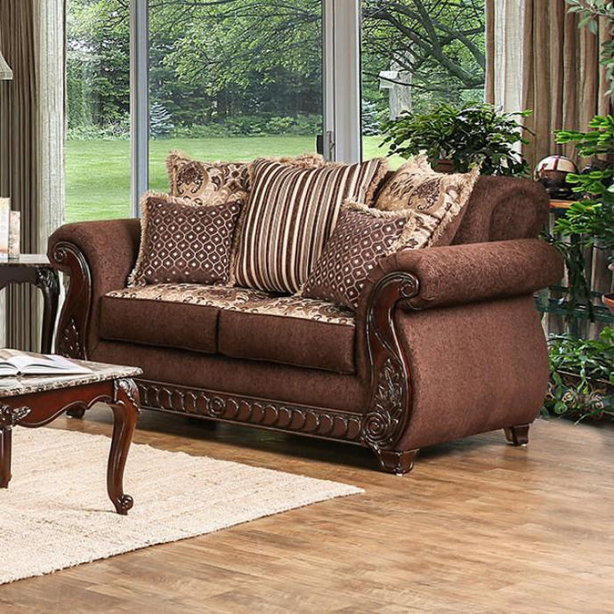 Furniture Of America Tabitha Brown Fabric Finish Loveseat