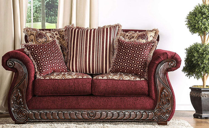 Furniture Of America Tabitha Red Fabric Finish Sofa