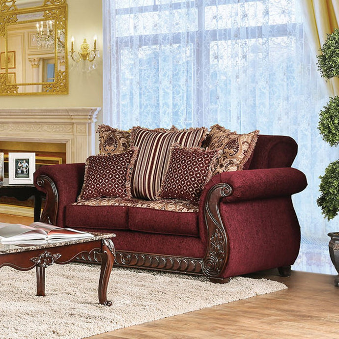 Furniture Of America Tabitha Red Fabric Finish Loveseat