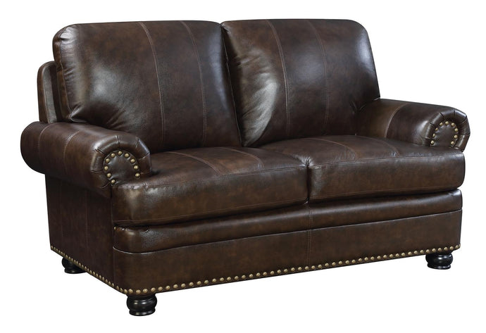 Furniture Of America Reinhardt Dark Brown Grain Leather Finish Loveseat
