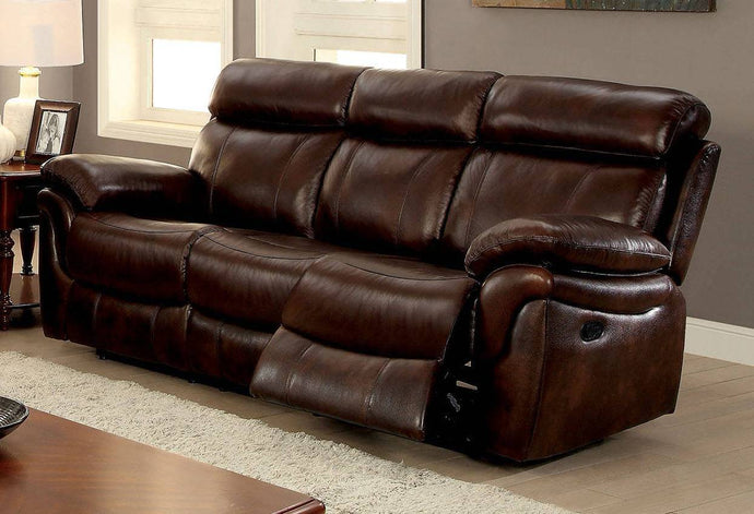 Furniture Of America Kinsley Brown Grain Leather Finish Sofa
