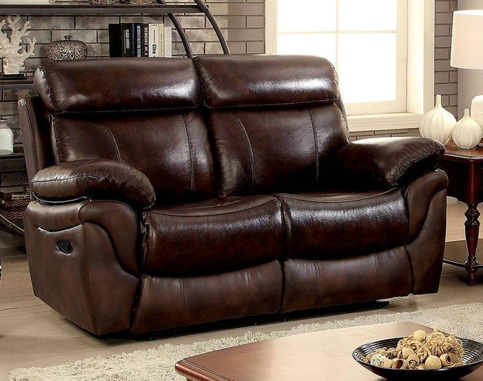 Furniture Of America Kinsley Brown Grain Leather Finish Recliner Loveseat
