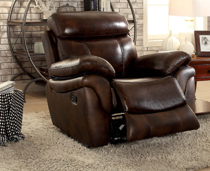 Furniture Of America Kinsley Brown Grain Leather Finish Recliner Chair