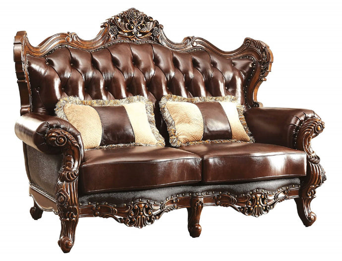 Furniture Of America Jericho Brown Grain Leather Finish Loveseat
