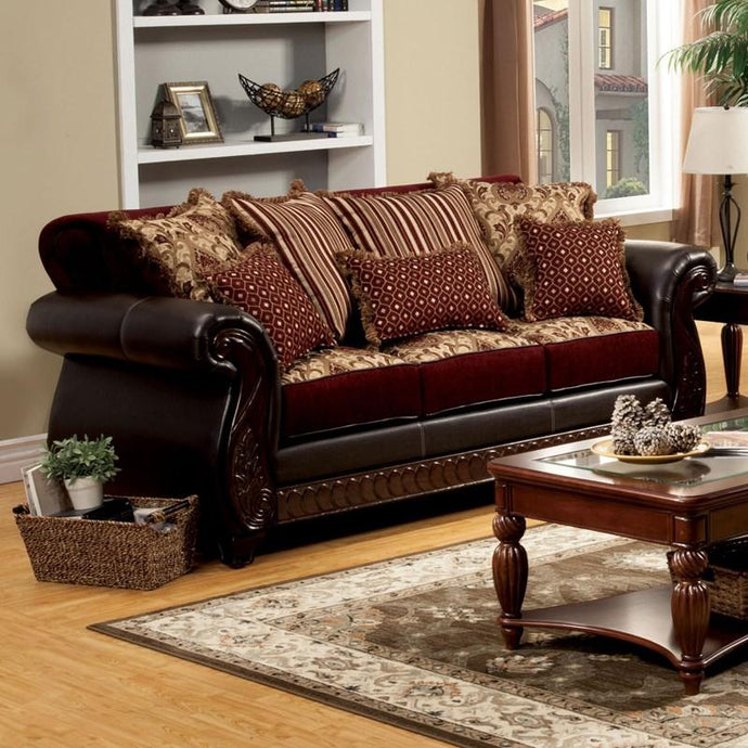 Furniture Of America Franklin Dark Brown Fabric Finish Sofa