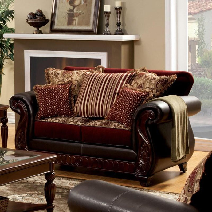Furniture Of America Franklin Dark Brown Fabric Finish Loveseat