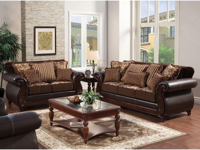 Furniture Of America Franklin Dark Brown Fabric Finish 2 Piece Sofa Set