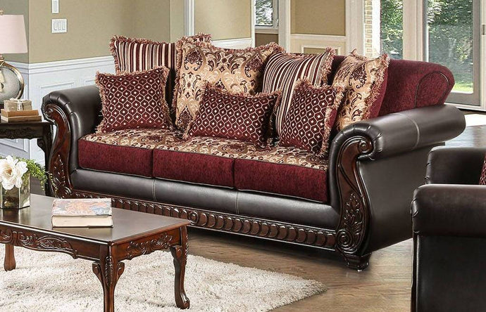 Furniture Of America Franklin Burgundy Fabric Finish Sofa