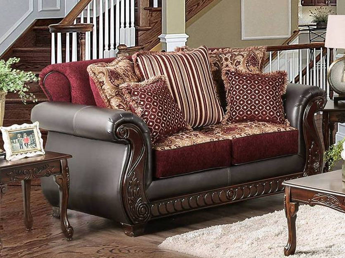 Furniture Of America Franklin Burgundy Fabric Finish Loveseat