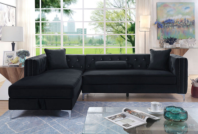 Furniture Of America Amie Black Flannelette Finish Sectional Sofa