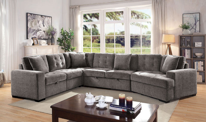 Furniture Of America Steph Gray Leatherette Finish Sectional Sofa