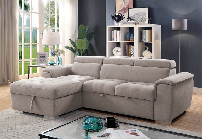Furniture Of America Stina Gray Linen Finish Sectional Sofa