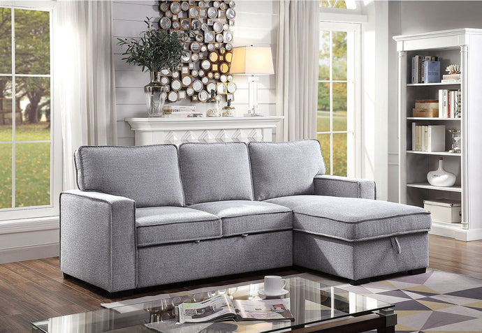 Furniture Of America Ines Gray Linen Finish Sectional Sofa
