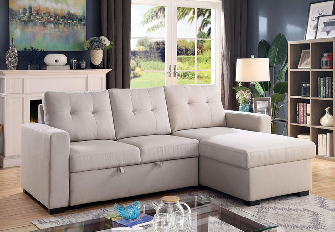 Furniture Of America Jacob Light Gray Linen Finish Sectional Sofa