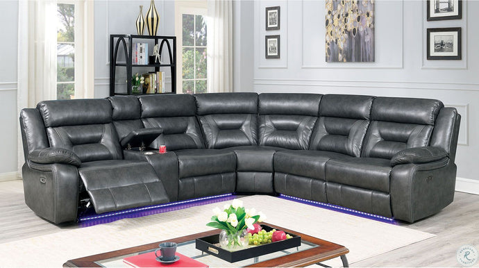 Furniture Of America Omeet Gray Breathable Leatherette Finish Power Sectional Sofa